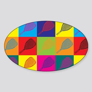 Racquetball Pop Art Oval Sticker