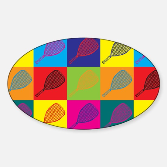 Racquetball Pop Art Oval Decal