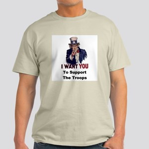 US Support Troops Ash Grey T-Shirt