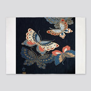 butterfly japanese textile 5'x7'Area Rug