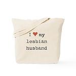 I heart my lesbian husband Tote Bag