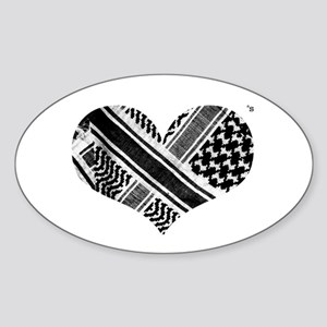 Keffiyeh love black Oval Sticker
