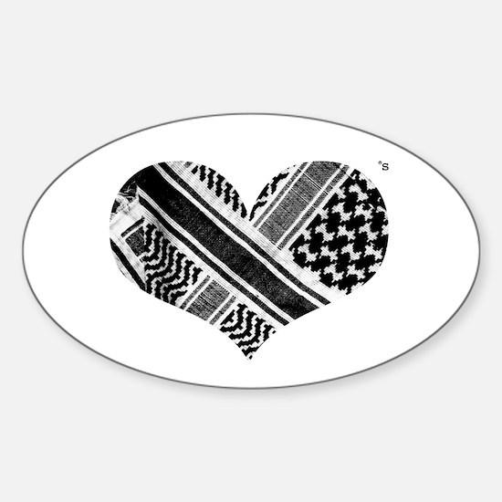 Keffiyeh love black Oval Decal
