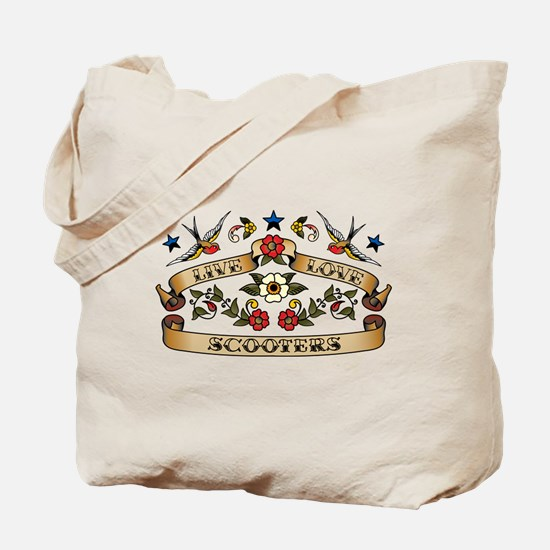 Live Love Scooters Tote Bag