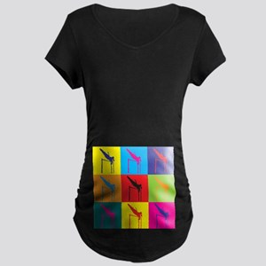 Pole Vaulting Pop Art Maternity Dark T-Shirt