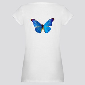 Blue Butterfly Maternity T-Shirt
