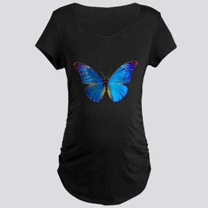 Blue Butterfly Maternity Dark T-Shirt