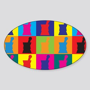Pharmacology Pop Art Oval Sticker