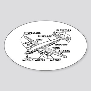 Aeroplane Diagram Oval Sticker