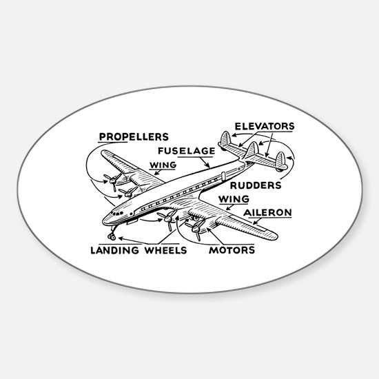 Aeroplane Diagram Oval Decal