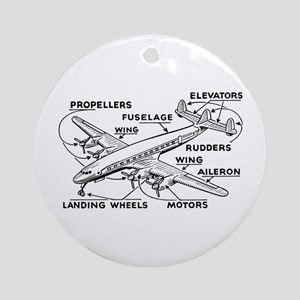 Aeroplane Diagram Ornament (Round)