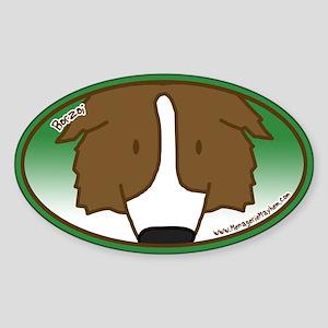 Anime Borzoi Oval Sticker