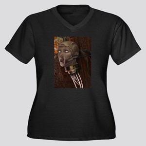 Jacked In Women's Plus Size V-Neck Dark T-Shirt