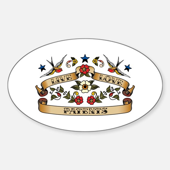 Live Love Patents Oval Decal