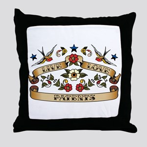 Live Love Patents Throw Pillow