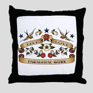 Live Love Paralegal Work Throw Pillow
