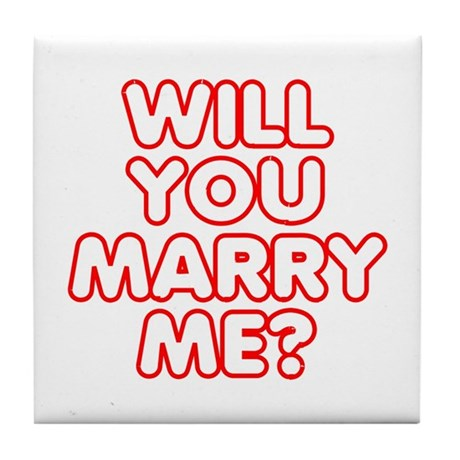 Retro Will You Marry Me? Tile Coaster