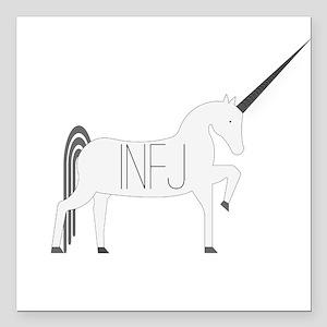 """INFJ Unicorn Square Car Magnet 3"""" x 3"""""""