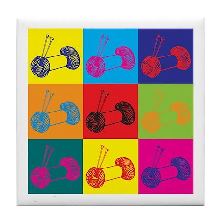 Knitting Pop Art Tile Coaster
