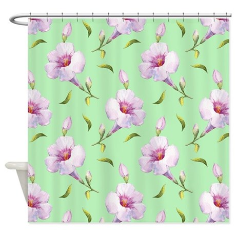 Pink Flowers on Mint Shower Curtain