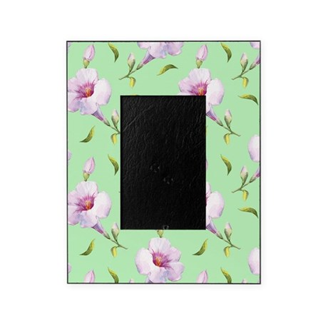 Pink Flowers on Mint Picture Frame