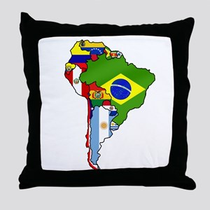 South America Flag Map Throw Pillow