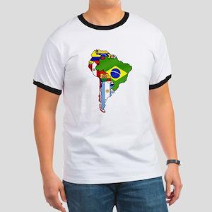 South America Flag Map Ringer T