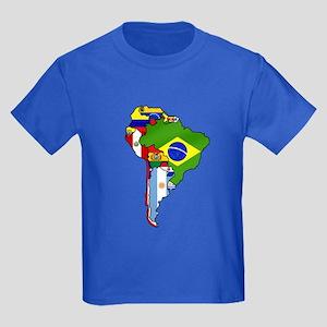 South America Flag Map Kids Dark T-Shirt