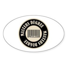 Masters Degree Priceless Bar Code Oval Sticker