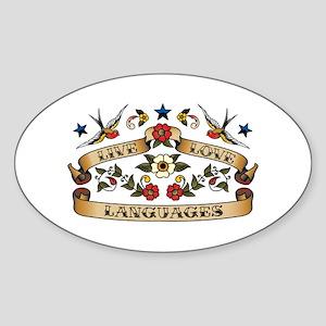 Live Love Languages Oval Sticker