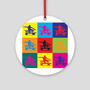 Hurdling Pop Art Ornament (Round)