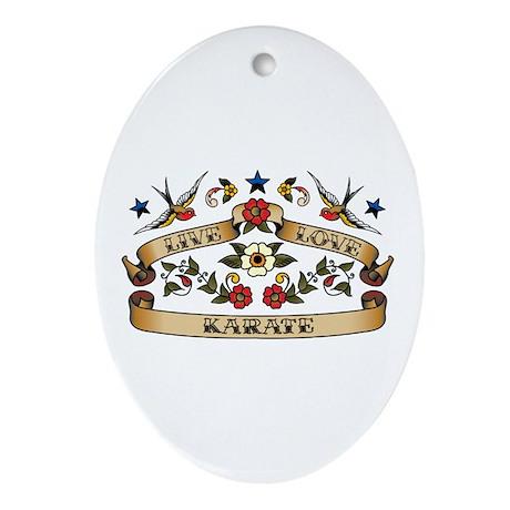 Live Love Karate Oval Ornament