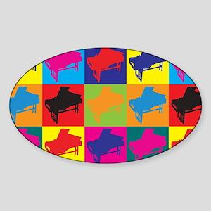Harpsichord Pop Art Oval Sticker