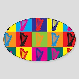 Harp Pop Art Oval Sticker