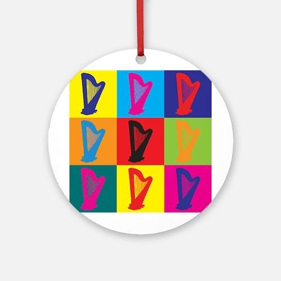 Harp Pop Art Ornament (Round)