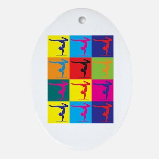 Gymnastics Pop Art Oval Ornament