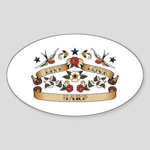 Live Love Harp Oval Sticker