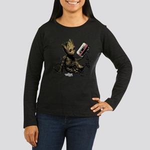 GOTG Groot Casset Women's Long Sleeve Dark T-Shirt