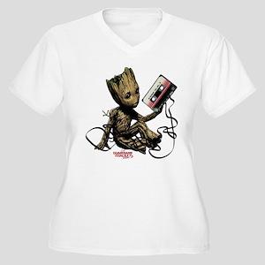 GOTG Groot Casset Women's Plus Size V-Neck T-Shirt