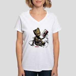 GOTG Groot Cassette Women's V-Neck T-Shirt