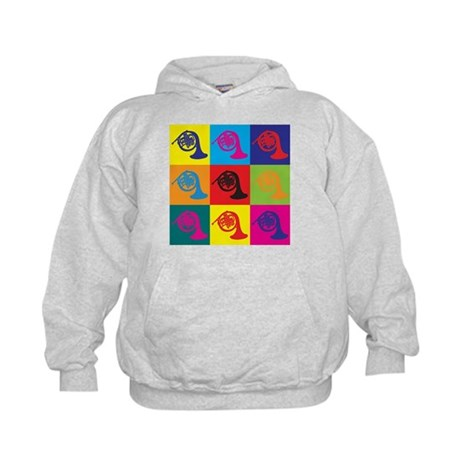 French Horn Pop Art Kids Hoodie