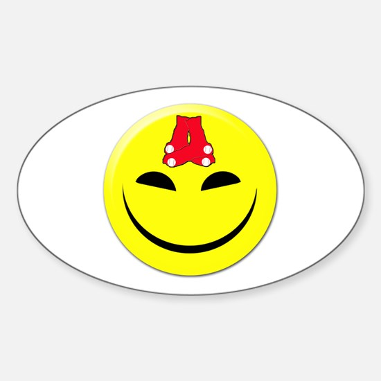 Smiley-Red Sox Oval Decal