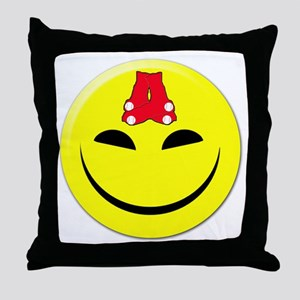 Smiley-Red Sox Throw Pillow