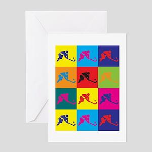 Field Hockey Pop Art Greeting Card