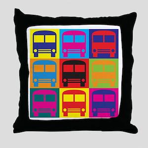 Driving a Bus Pop Art Throw Pillow