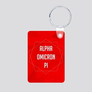 Alpha Omicron Pi Geometric Aluminum Photo Keychain