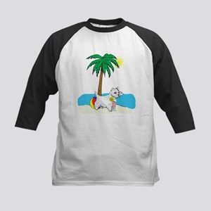 Beach Westie Kids Baseball Jersey