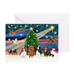 XMagic-Four Cavaliers Greeting Cards (Pk of 10)