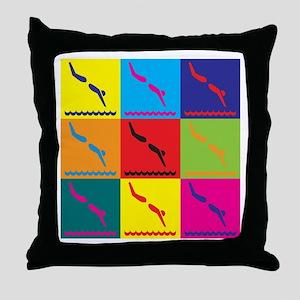 Diving Pop Art Throw Pillow