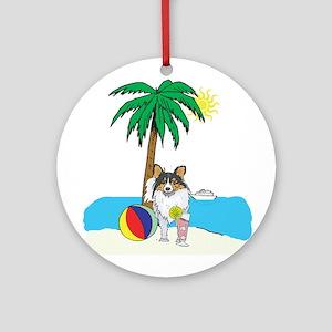 Beach Shetland Sheepdog Ornament (Round)